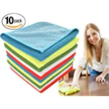 Dish Cloths Microfiber Kitchen Towels, Dish Rags with Scrub Side by ForNeat, HIGH ABSORBENT, LINT-FREE, STREAK-FREE 12 by 12-Inch, 10-Pack
