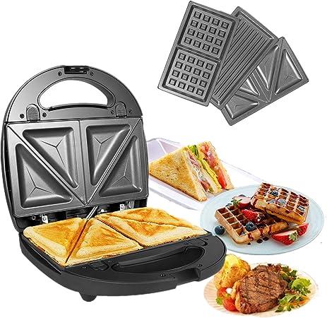 OZAVO Sandwichera 3 en 1 Sandwichera Eléctrica, Gofrera y Grill ...