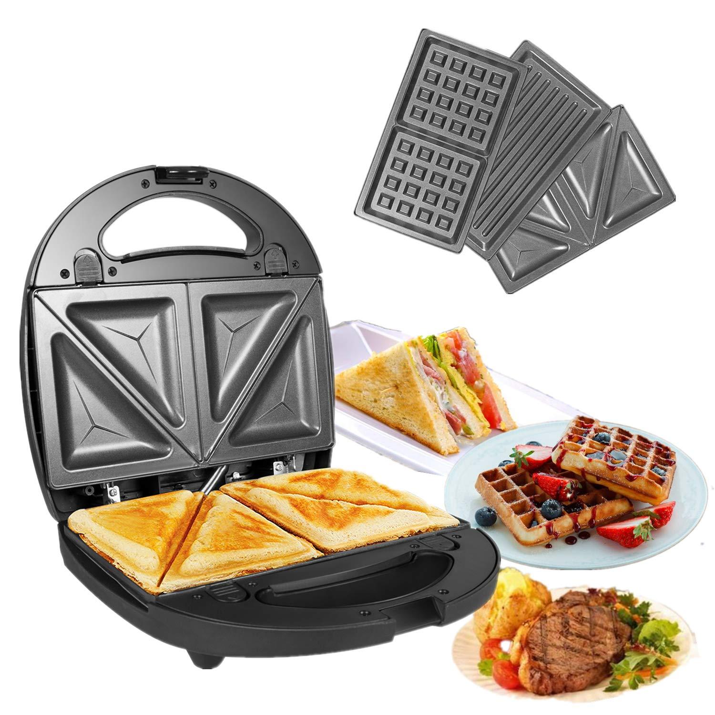 Sandwichtoaster 3 abnehmbare Grillplatten Waffeln OZAVO Sandwichmaker American Toast 750W Fleisch Waffeleisen Tisch-Grill 3 in 1 Paninitoaster mit 2 Kontrollleuchten