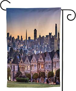 C COABALLA Alamo Square and Painted Ladies with Francisco, Watercolor Garden Flag Double Sized, Rustic Yard Outdoor Decoration USA 12.5''x18''