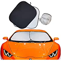 Kinder Fluff Windshield Sun Shades (210T Fabric) The Only Certified Sunshade to block 99.02% UVA & 99.87% UVB. Foldable…
