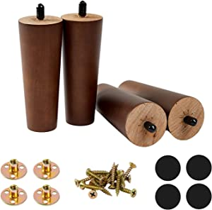 Furniture Wood Legs 5in Round Solid Wood Replacement Sofa Legs for Couch Chair Ottoman Loveseat Coffee Table Cabinet