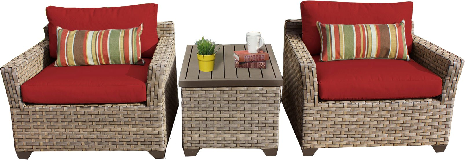 TK Classics 3 Piece Monterey Outdoor Wicker Patio Furniture Set, Terracotta - Fabric Warranty - 1 year coverage against fading Cushions - Thick Cushions for a luxurious look and feel Cushion Covers - Washable and zippered for easy cleaning (air dry only) - patio-furniture, patio, conversation-sets - 71Lm do34dL -