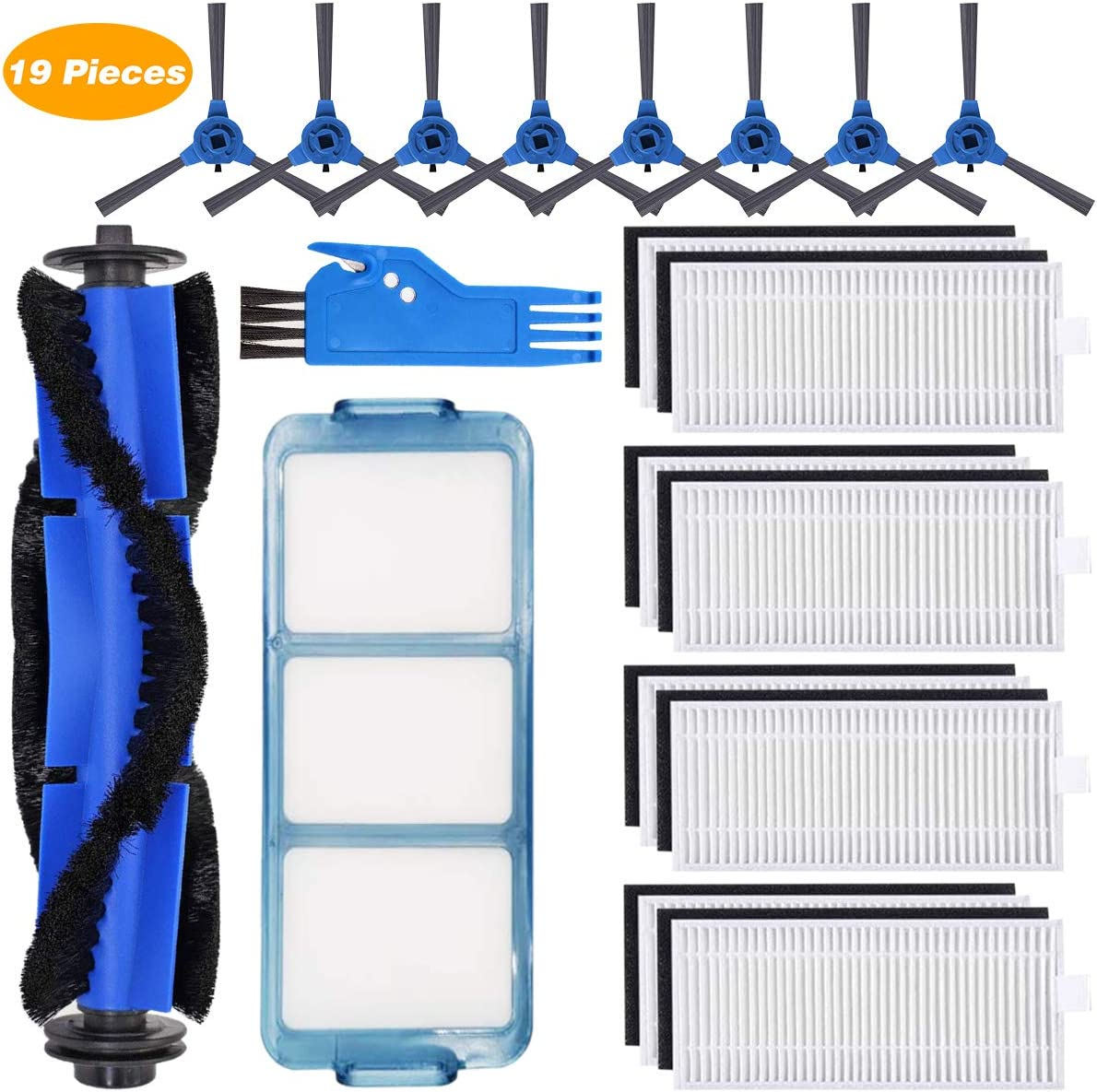 Replacement Parts for Eufy 11S,RoboVac 11S,RoboVac 30,RoboVac 30C,RoboVac 15C, 15T, 12, 35C Robotic Vacuum Accessories 19 Pack (8Filters,8Side Brushes,1Main Brush,1Primary Filter,1Free Cleaning Brush)