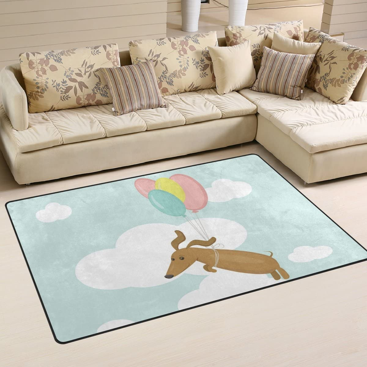 Yochoice Non-slip Area Rugs Home Decor, Stylish Funny Flying Dachshund Dog Blue Sky Balloon Floor Mat Living Room Bedroom Carpets Doormats 60 x 39 inches