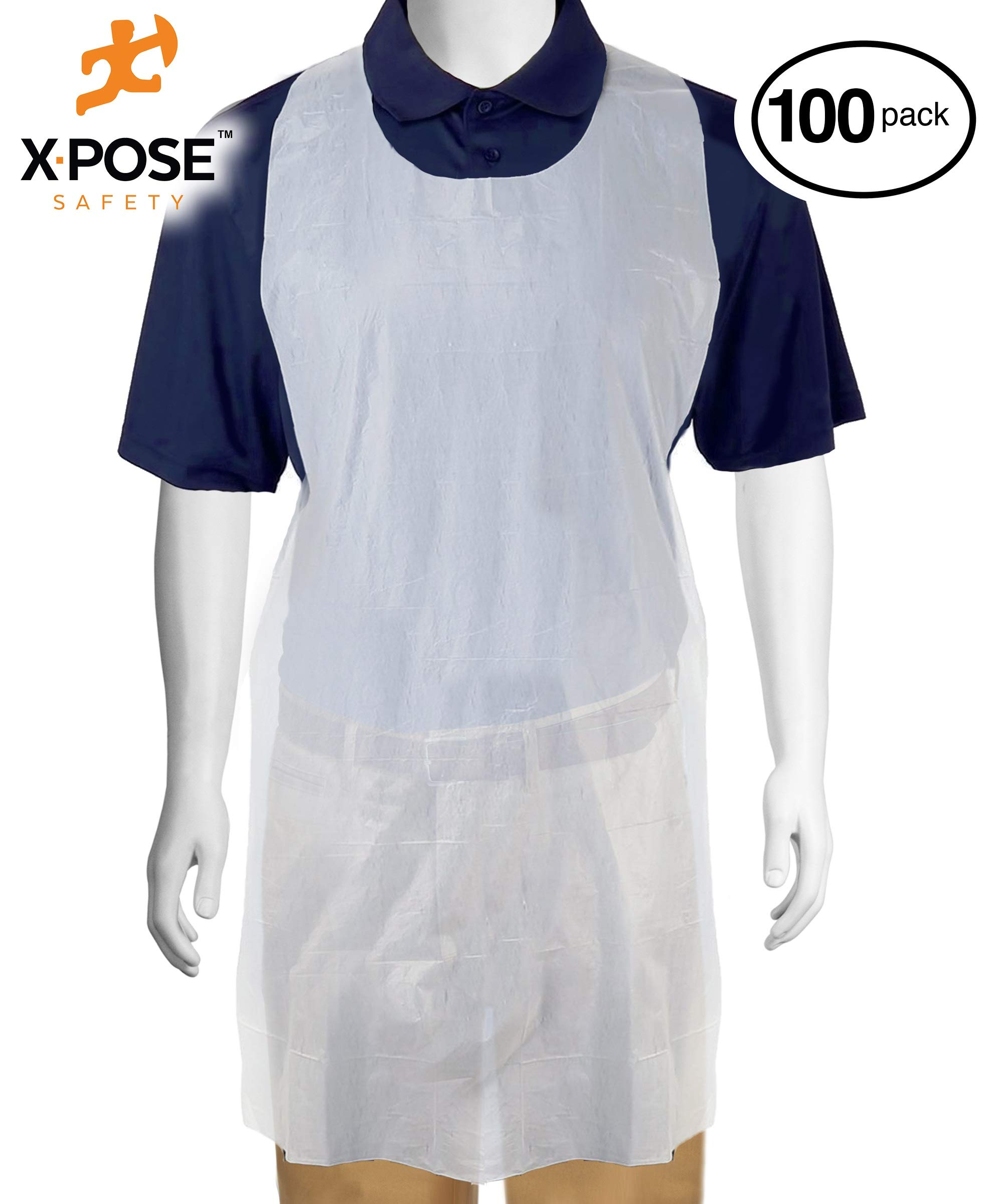 100 White Plastic Disposable Aprons For Cooking, Painting and More - Individually Packaged - Durable 1 mil Waterproof Polyethylene - 24'' x 42'' - by Xpose Safety