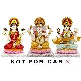 SUNNY CORPS Laxmi Ganesha Saraswati Statue, Lakshmi Ganesha Saraswati Idol Laxmi Ganesh Saraswati Murti, Lakshmi Ganesha Saraswati Showpiece, Diwali Gift, LxHxW(cm) = 27x14x5.5