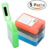 [5-Pack] Hard Drive Disk Protective Box - EAXER Shockproof Anti-Static Storage Case for 3.5 Inch HDD - Green/Red/Gray/Blue/White
