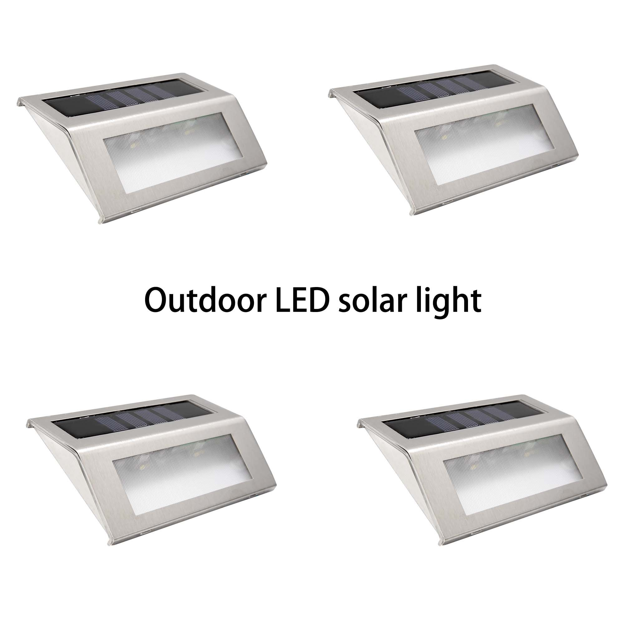 eshion Waterproof Solar Power LED Light Pathway Path Step Stair Wall Garden Yard Patio 4 Pack Lamps