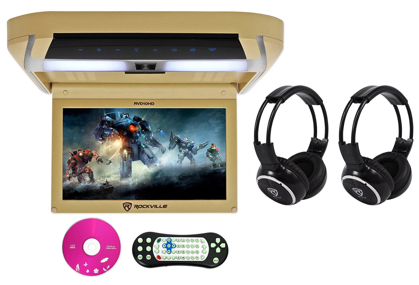 Package: Rockville RVD10HD-BG 10.1'' Beige Flip Down Monitor With DVD Player, HDMI, USB/SD, Games, and LED Mood Light Tan + (2) Rockville RFH3 Dual Channel Wireless Ir Headphones