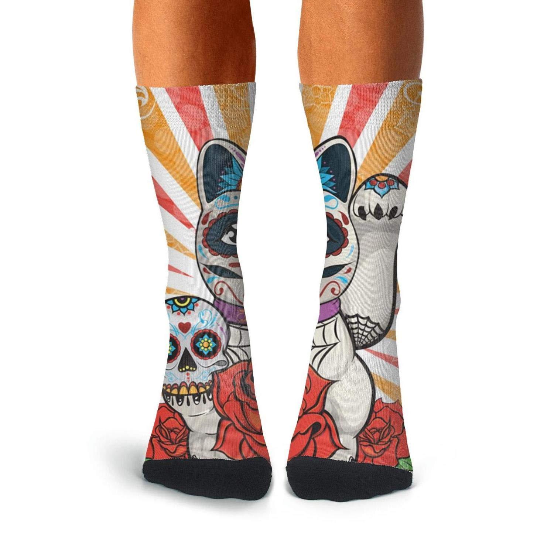Knee High Long Stockings KCOSSH Sugar Skull Cat Crazy Calf Socks Moisture Crew Sock For Men