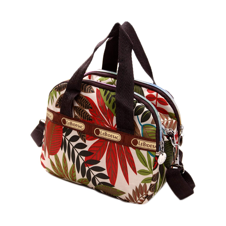 Women's Mini Nylon Floral Top Handle Tote Handbags Water Resistant Multi Pocket Zipper Shoulder Bag Crossbody Bags