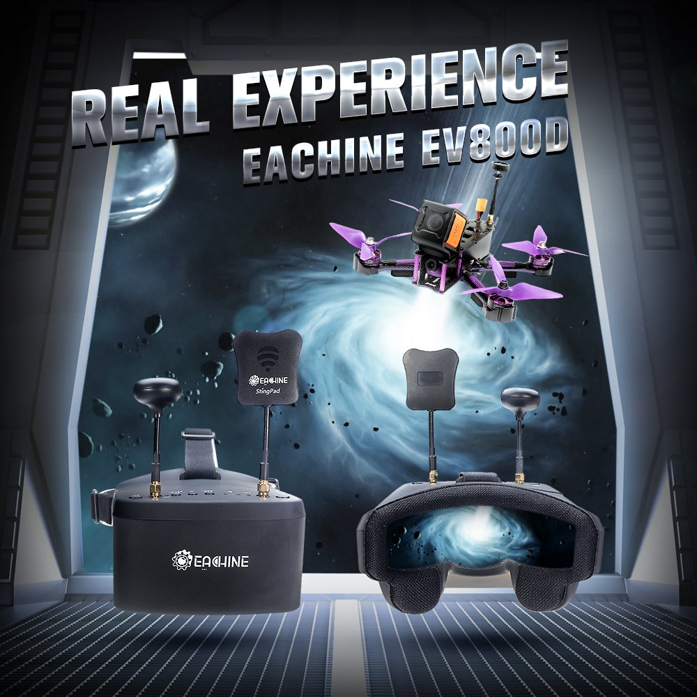 EACHINE EV800D FPV Goggles with DVR 5.8G 40CH 5 Inch 800480 Diversity Video Headset Build in Battery