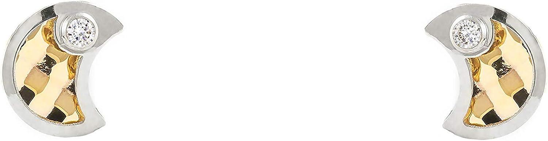 Pendientes Oro Bebe o Niña Media Luna bicolor con circon (9kts)