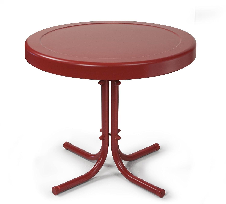 amazoncom crosley furniture gracie retro inch metal outdoor  - amazoncom crosley furniture gracie retro inch metal outdoor side table coral red kitchen  dining