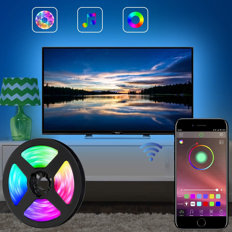 Tira de luces LED para TV LED, tira de luces LED RGB de 11.5 pies (3.5M) controlada por APP para TV de 40 a 60 pulgadas, sincroniza con la música, iluminación diagonal,