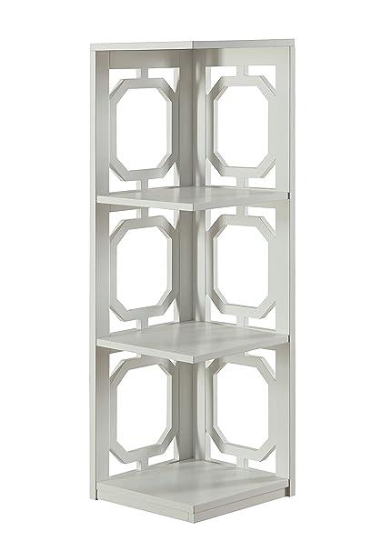 Convenience Concepts Omega 3 Tier Corner Bookcase White