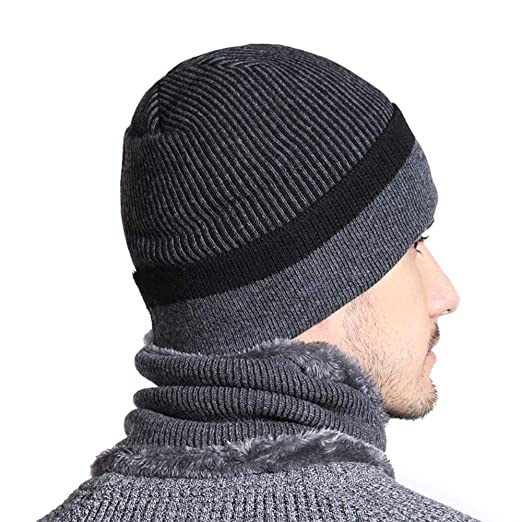 New Winter Hat for Men Casual Skullies Beanies Hats Stripe Design Winter Beanie Women Wool Scarf Neck Warmer Balaclava Hat (Black Hat) at Amazon Mens ...