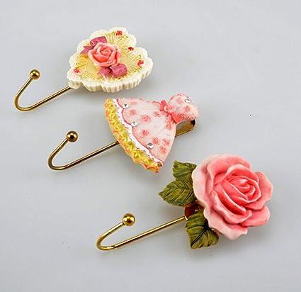 chengyida 3pcs Rosa Flor/corazón/con forma de vestido perchero de pared colgador de