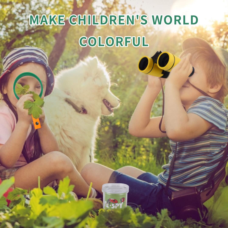 UTTORA binocolo Bambini, 25 in 1 Set di binocoli per Bambini, Set di esplorazione all\'aperto, Ideale per 3 4 5 6-12 Anni Ragazzo e Ragazza, Kit educativo per Bambini per Esterno (25 Pezzi)