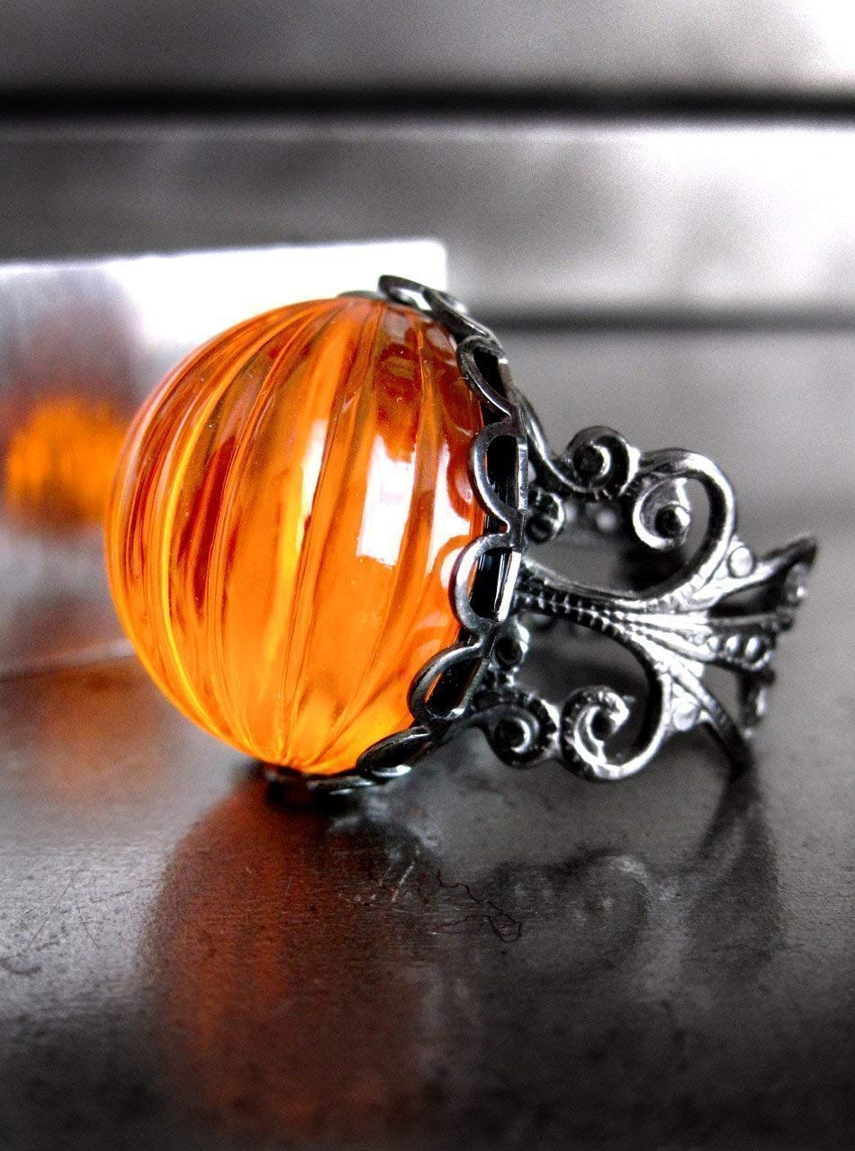 Bright Neon Orange Pumpkin Ring for Halloween with Gothic Black Filigree Adjustable Ring