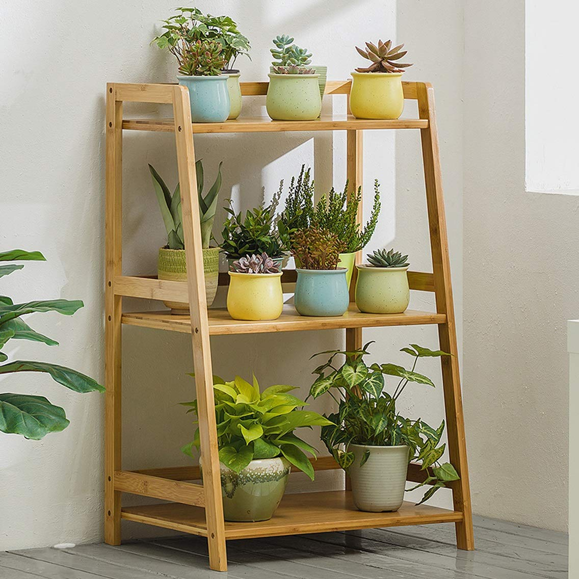 HLQW Bamboo Flower Shelf, Floor, Indoor Multi Storey Balcony, verde Lounge Soggiorno Flower Rack.