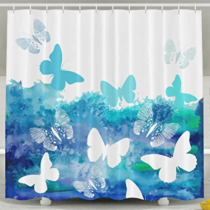 Blue Watercolor Butterflies Shower Curtain Repellent Fabric Mildew Resistant Machine Washable Bathroom Anti Bacterial Polyester