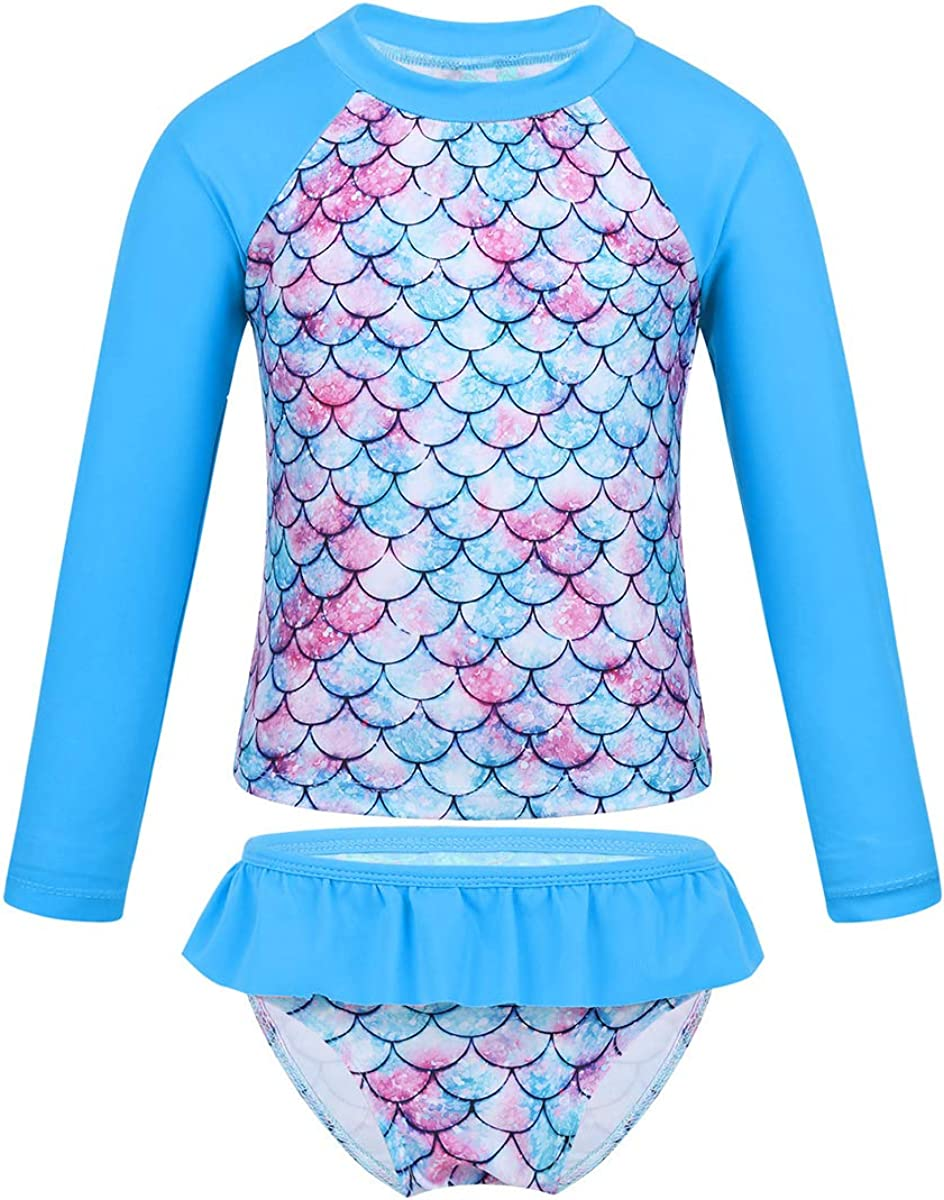 Toddlers Girls Swimwear Kids Mermaid Swimmming Bathing Swimsuits Rash Guard Suit