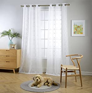 MIUCO White Sheer Curtains Embroidered Trellis Design Grommet Curtains 95 Inches Long for French Doors 2 Panels (2 x 37 Wide x 95