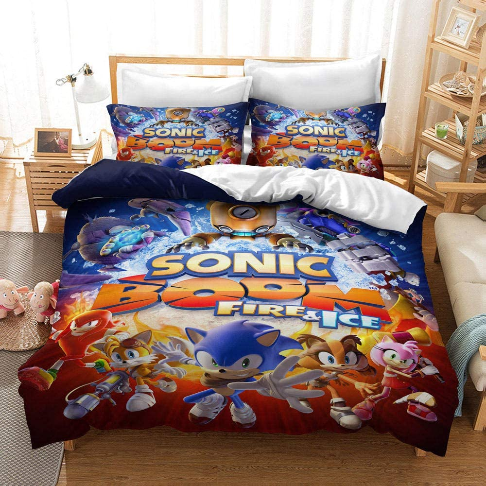 NiQiShangMao Conjuntos de Ropa de Cama Sonic The Hedgehog, Funda Nórdica y Funda de Almohada, Juego de Sábanas de Anime 3D Sonic para Niños