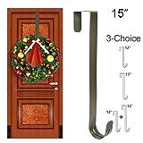 GameXcel Wreath Hanger Over The Door - Large Wreath Metal Hook for Christmas Wreath Front Door Hanger - Brass