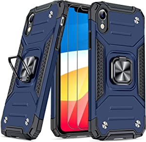 JAME Case for iPhone XR Cases with Screen Protector 2PCS, Military-Grade Drop Protection, Protective Xr Phone Case, Shockproof Bumper XR Case with Ring Kickstand, for iPhone XR 6.1 Inch Blue
