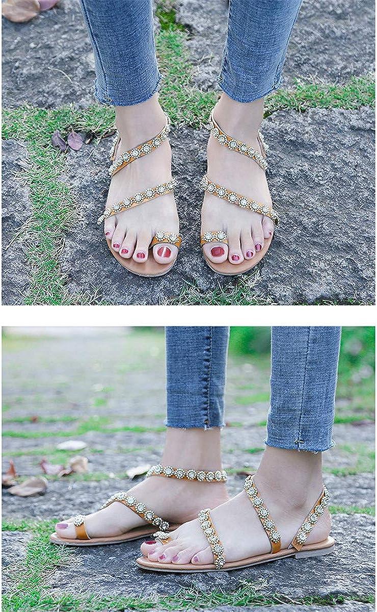 Winwinfly Summer Ladies Shoes PU Leather Peep Toe Sling Back Flower Flat Flower Flip Flop Beach SandalsPhoto Color