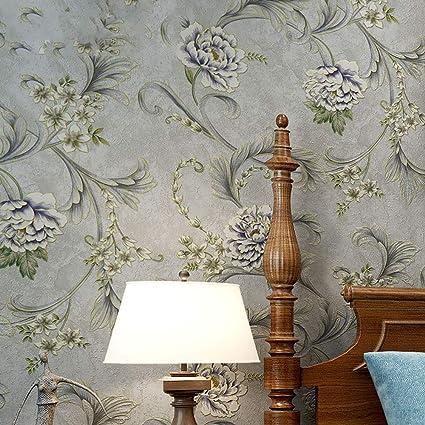 Vintage wallpaper garden flower warm bedroom living room TV ...