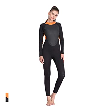 23936e02c57 FOCLASSY 3mm Wetsuit Ladies Sports Swimsuit One Piece Long Sleeves Plus  Size Zip Front Push Up
