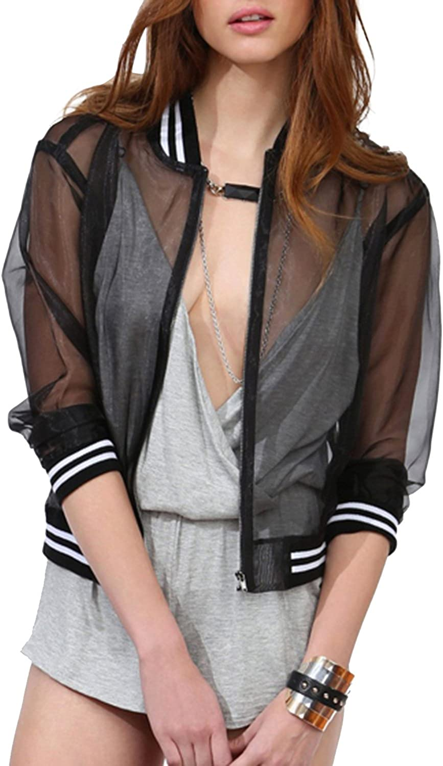 HaoDuoYi Womens Mesh Sheer Open Front Color Block Sports Cover Up Shirt Top