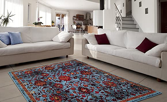 ADGO Siena Collection Modern Contemporary Live Blue Red Design Jute Backed Area Rugs Tall Pile Height Well Spaced Soft and Fluffy Indoor Living Dining Bedroom Floor Rug 6 6 x 9