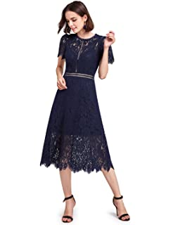 1d23f049ebe0 VFSHOW Womens Floral Lace Pleated Cocktail Wedding Party A-Line Midi ...