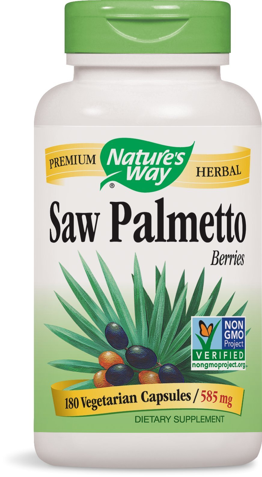 Nature's Way Saw Palmetto Berries; 585 mg Saw Palmetto Berries per serving; Non-GMO Project Verified; TRU-ID Certified; Gluten-Free; Vegetarian; 180 Capsules