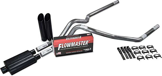 Sierra Shop Line dual exhaust system 2.5 Aluminized pipe Flowmaster Super 44 Muffler 2.5 With Corner Exit for Silverado Truck Exhaust Kits F-Series,/& Ram
