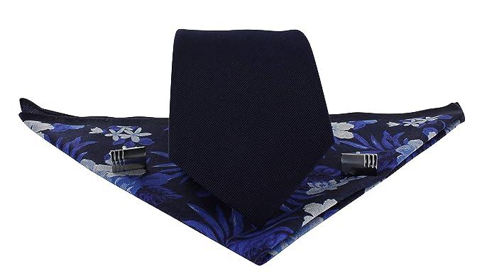 Michelsons of London Juego de gemelos y corbata de seda de sarga ...