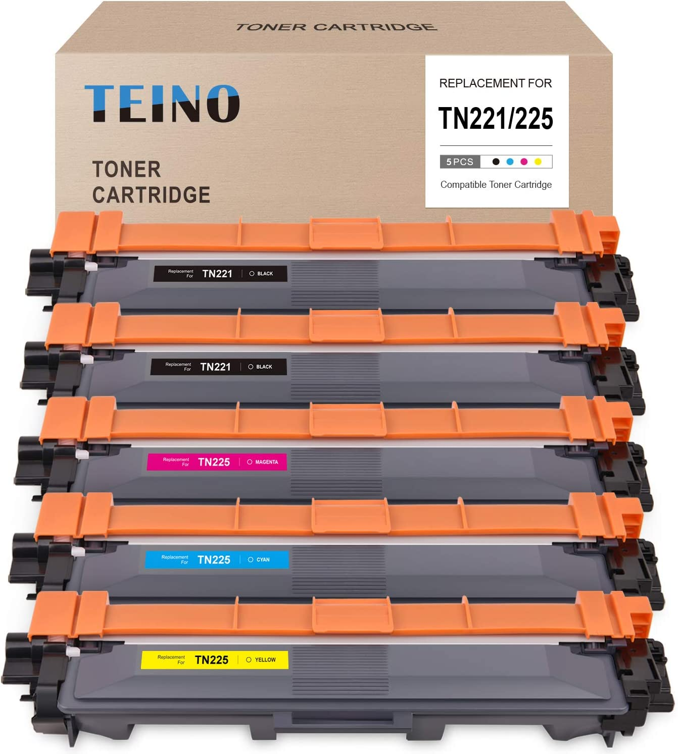 TEINO Compatible Toner Cartridge Replacement for Brother TN221 TN225 use with Brother HL-3140CW 3170CDW 3150CDW MFC-9130CW 9340CDW 9330CDW 9140CDN (Black Cyan Magenta Yellow, 5-Pack)