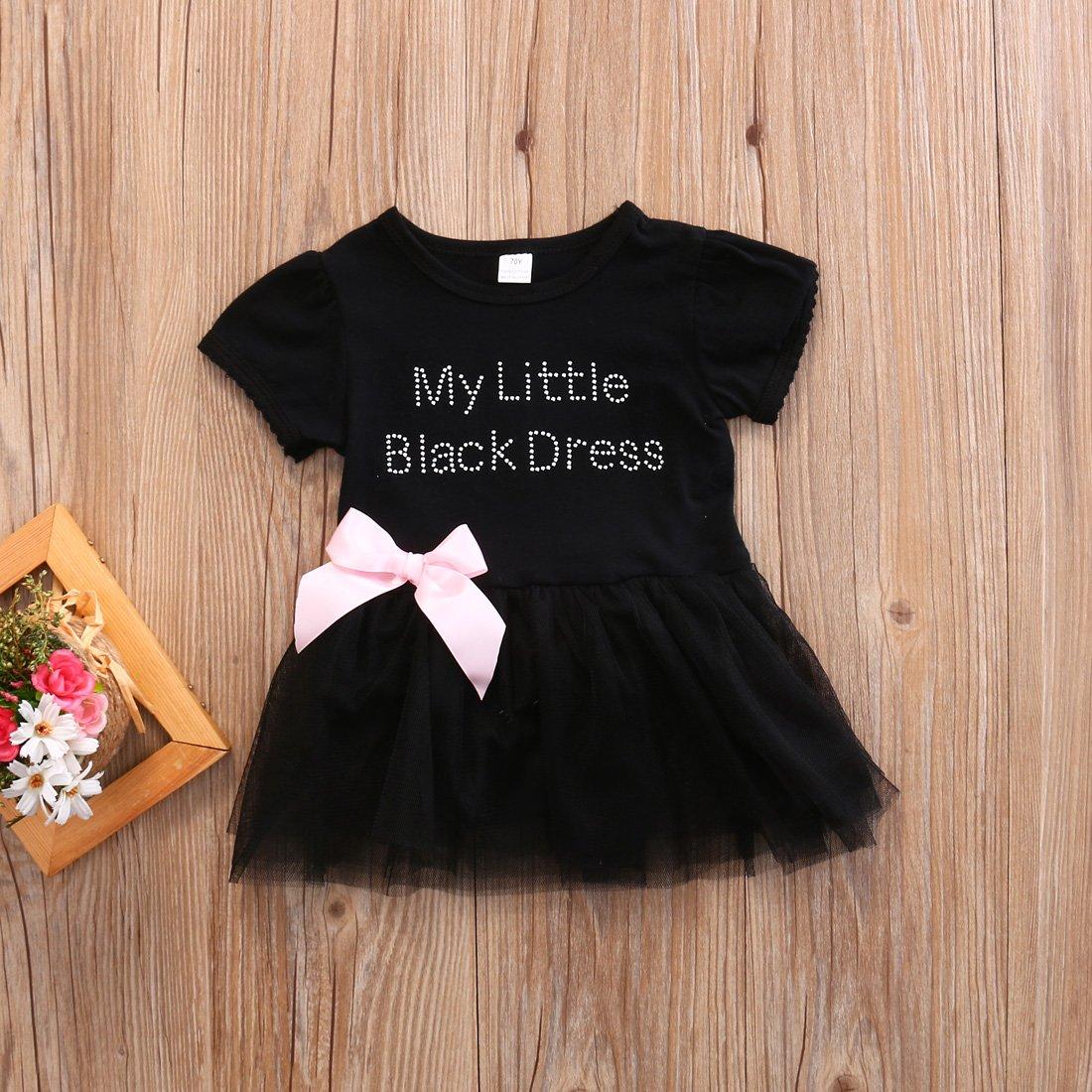 02d1350f256e Amazon.com  ONE S Infant Baby Girls My Little Black Dress Bodysuit Tutu  Romper Jumpsuit Outfits  Clothing