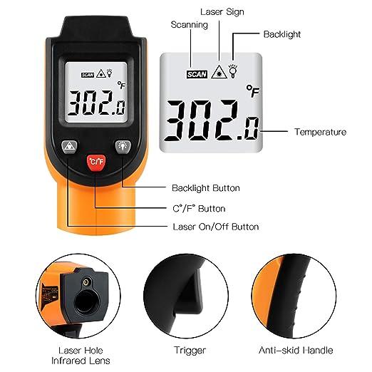 SMART SENSOR 32 /°C ~ 550 /°C Term/ómetro digital con pantalla LCD retroiluminada rango de temperatura