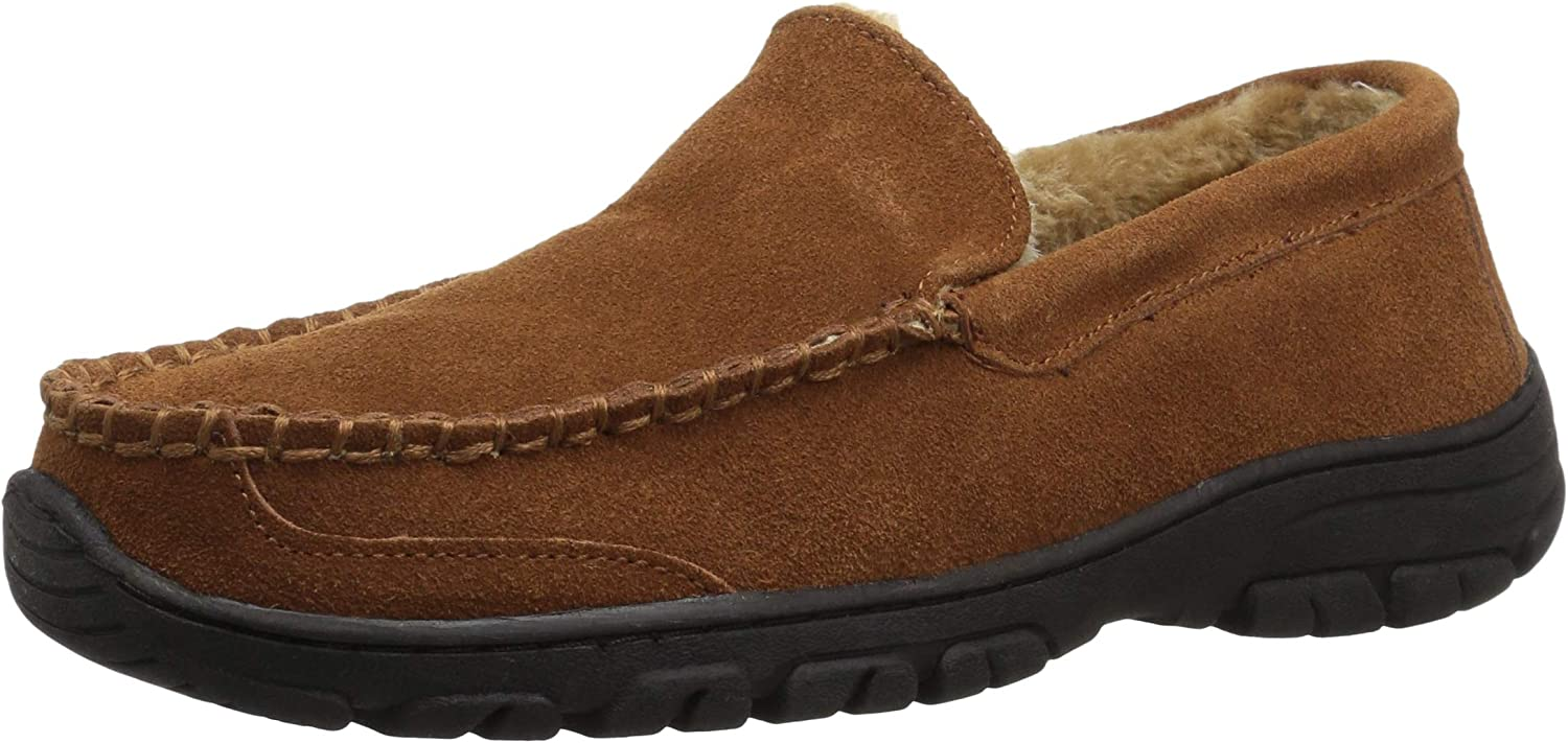 Staheekum Mens Spring Foam Molded Insole with Plush Lining Indoor and Outdoor Slipper Driving Style Loafer