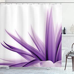 Ambesonne Flower Shower Curtain, Purple Ombre Style Long Leaves Water Colored Print with Calming Details Image, Cloth Fabric Bathroom Decor Set with Hooks, 70