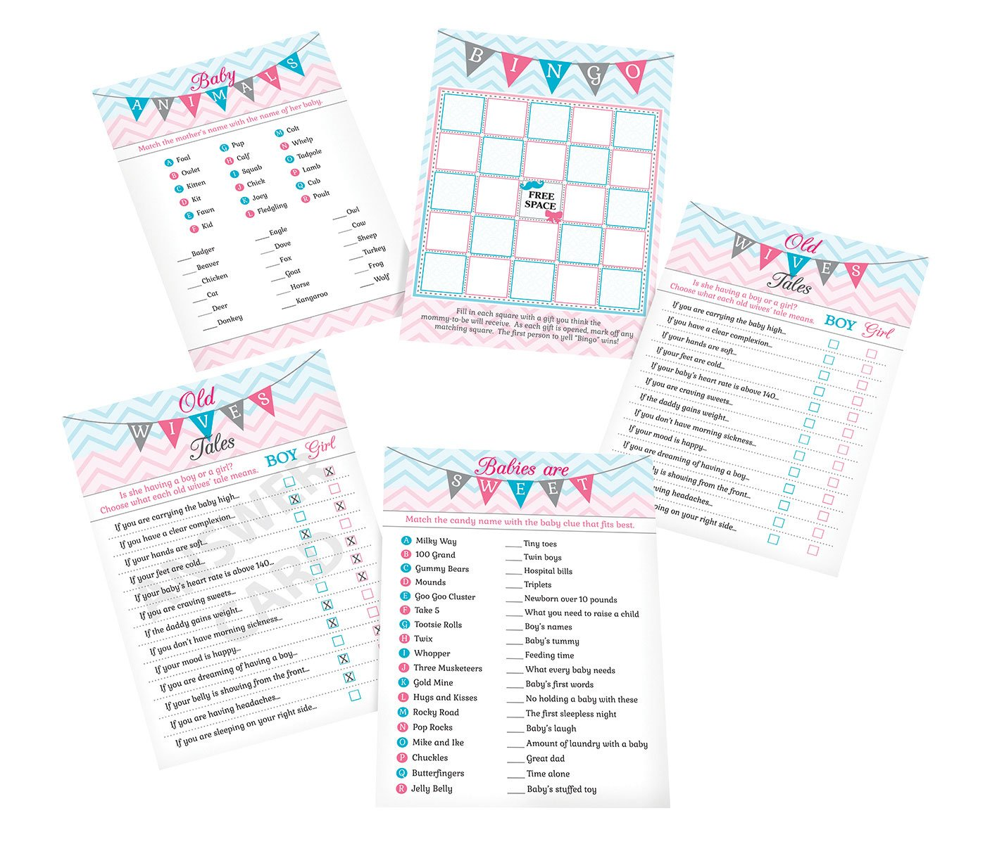 Lillian Rose Baby Gender Reveal Shower Game Cards, Pink/Blue/White, 5'' x 7''