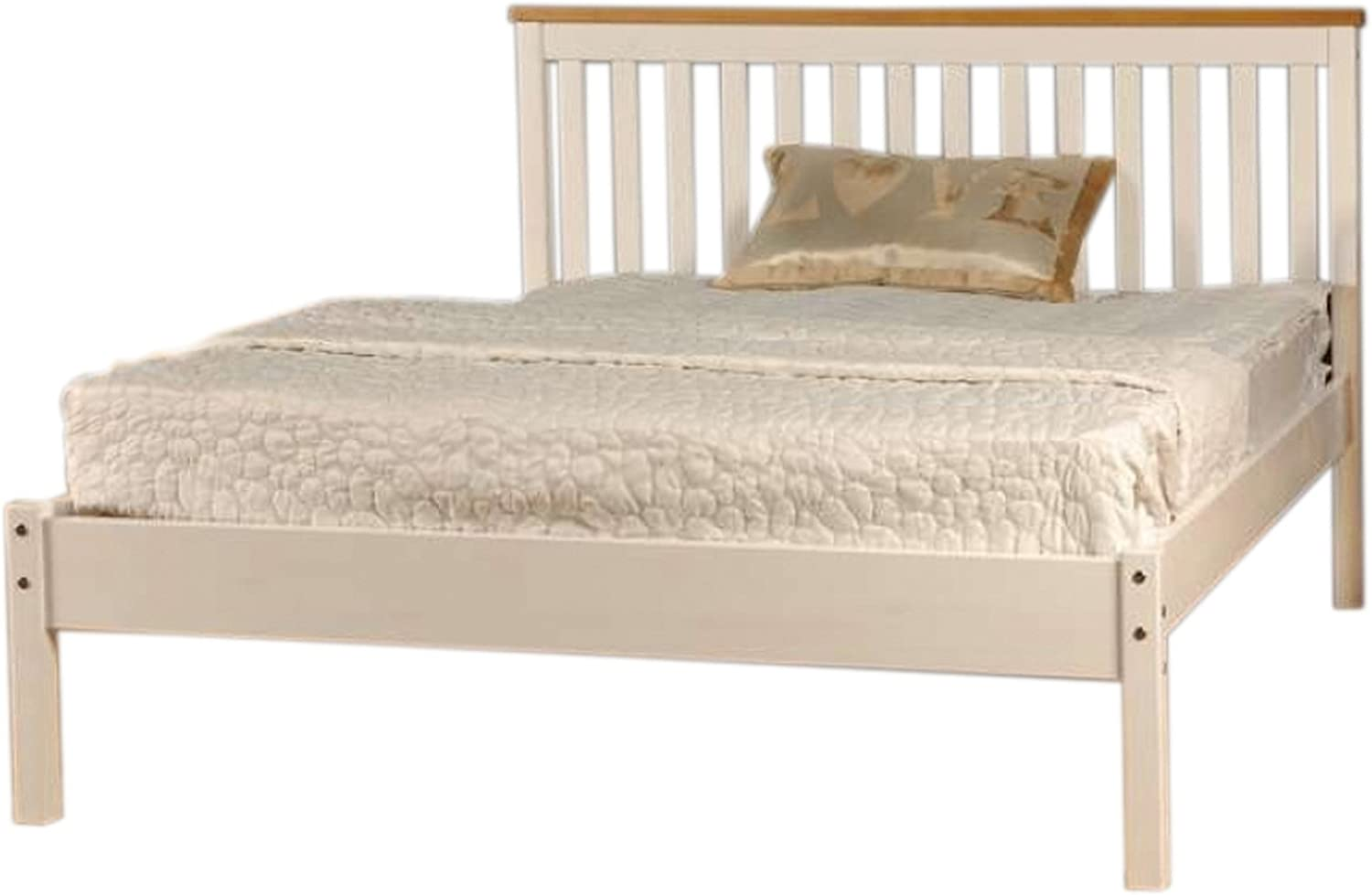 Comfy Living 5ft King Low End Solid Wooden Medina Bed Frame In White With Caramel Bar Amazon Co Uk Kitchen Home