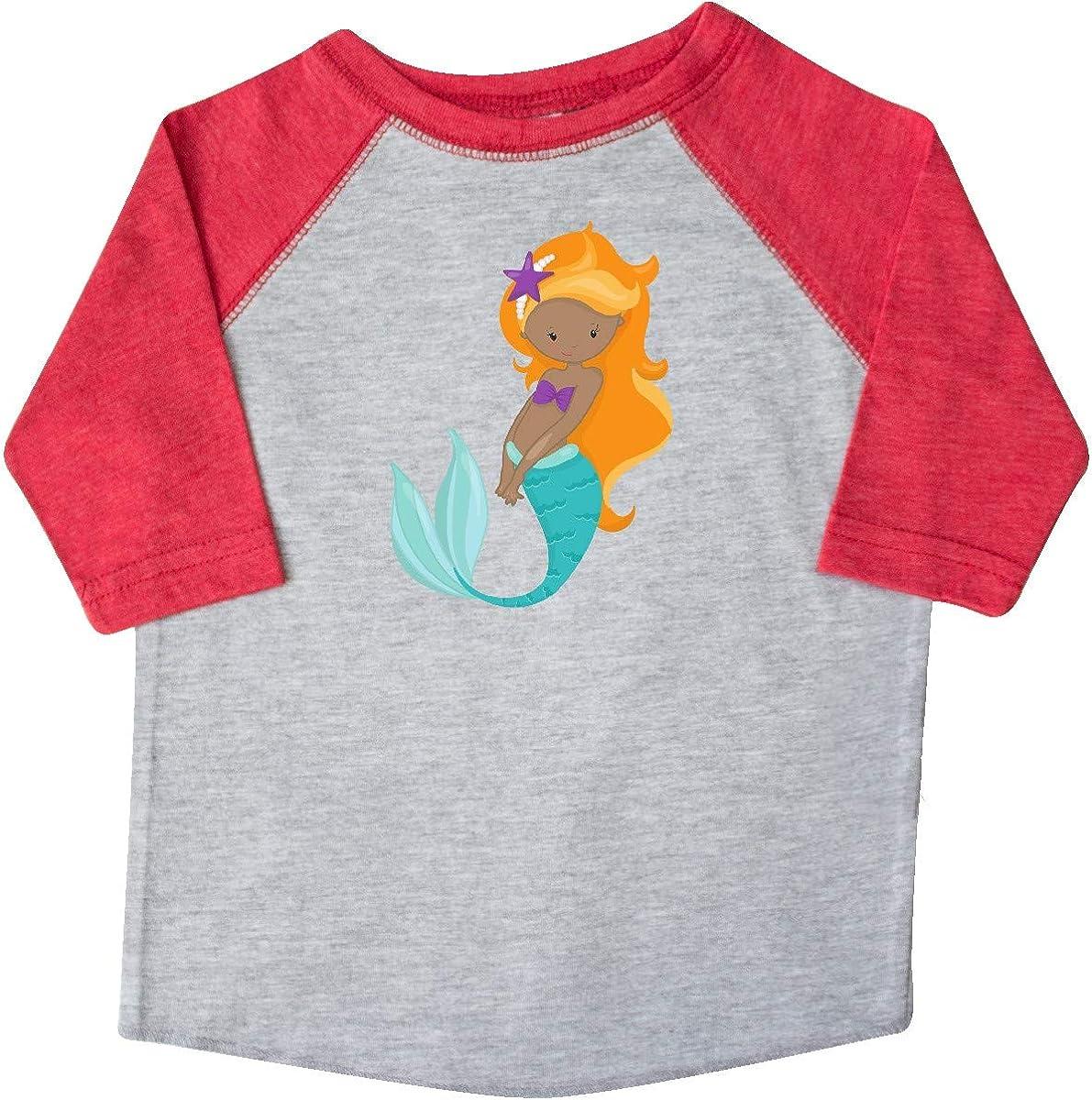 Sea Star Toddler T-Shirt Orange Hair inktastic African American Mermaid