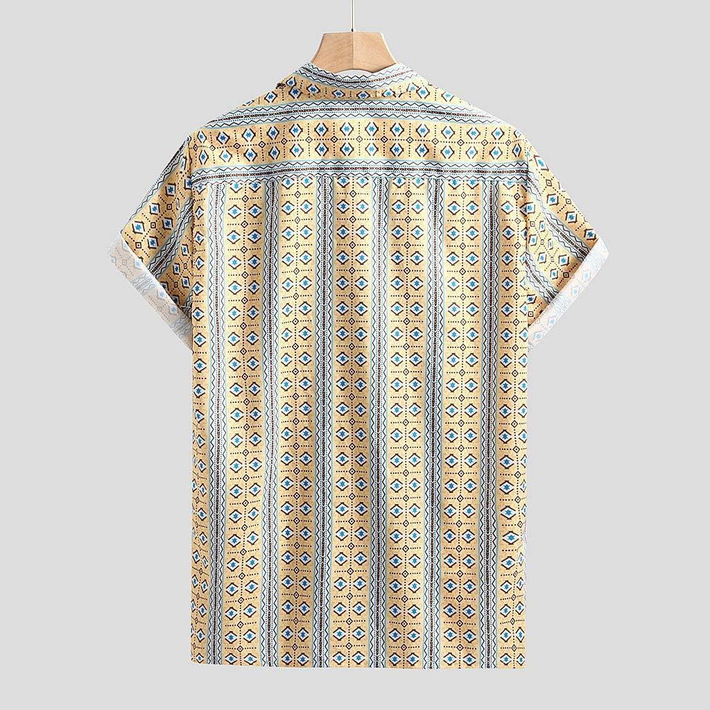 Annhoo Mens Hawaiian Dress Shirt Casual Summer Contrast Color Stripes Print Regular Fit Button Up Shirt